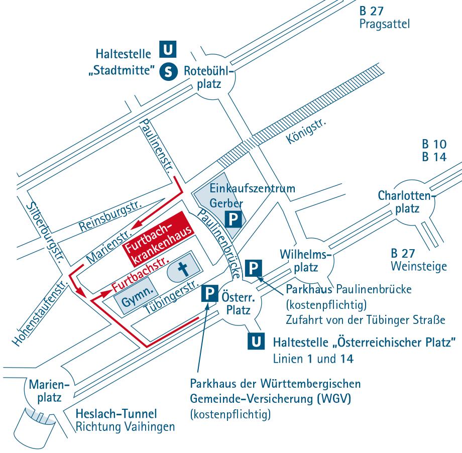 Anfahrt Furtbachkrankenhaus Stuttgart